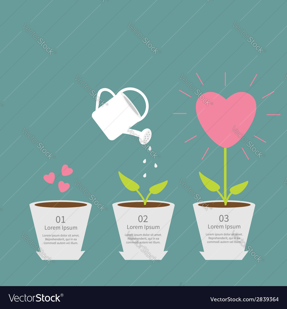 Heart seed watering can love plant growth concept vector | Price: 1 Credit (USD $1)
