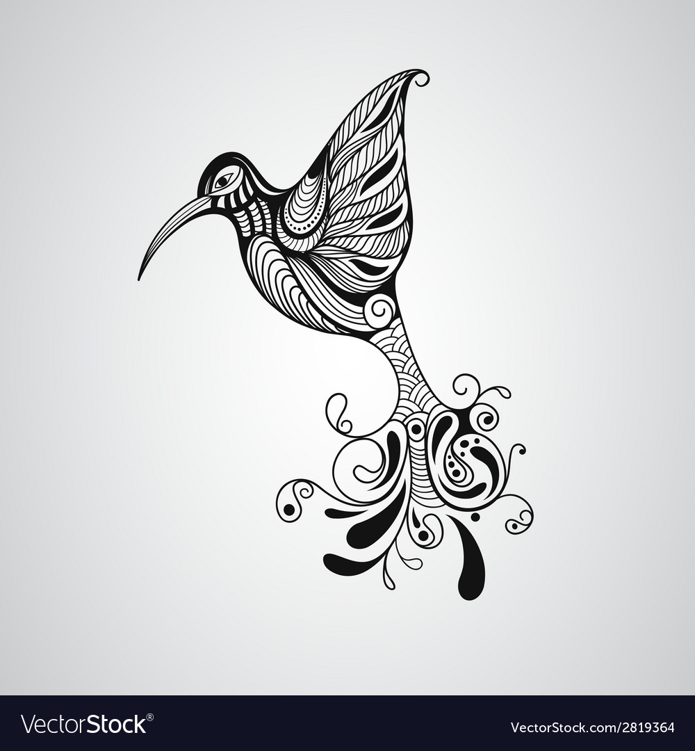 Hummingbird tattoo style vector | Price: 1 Credit (USD $1)