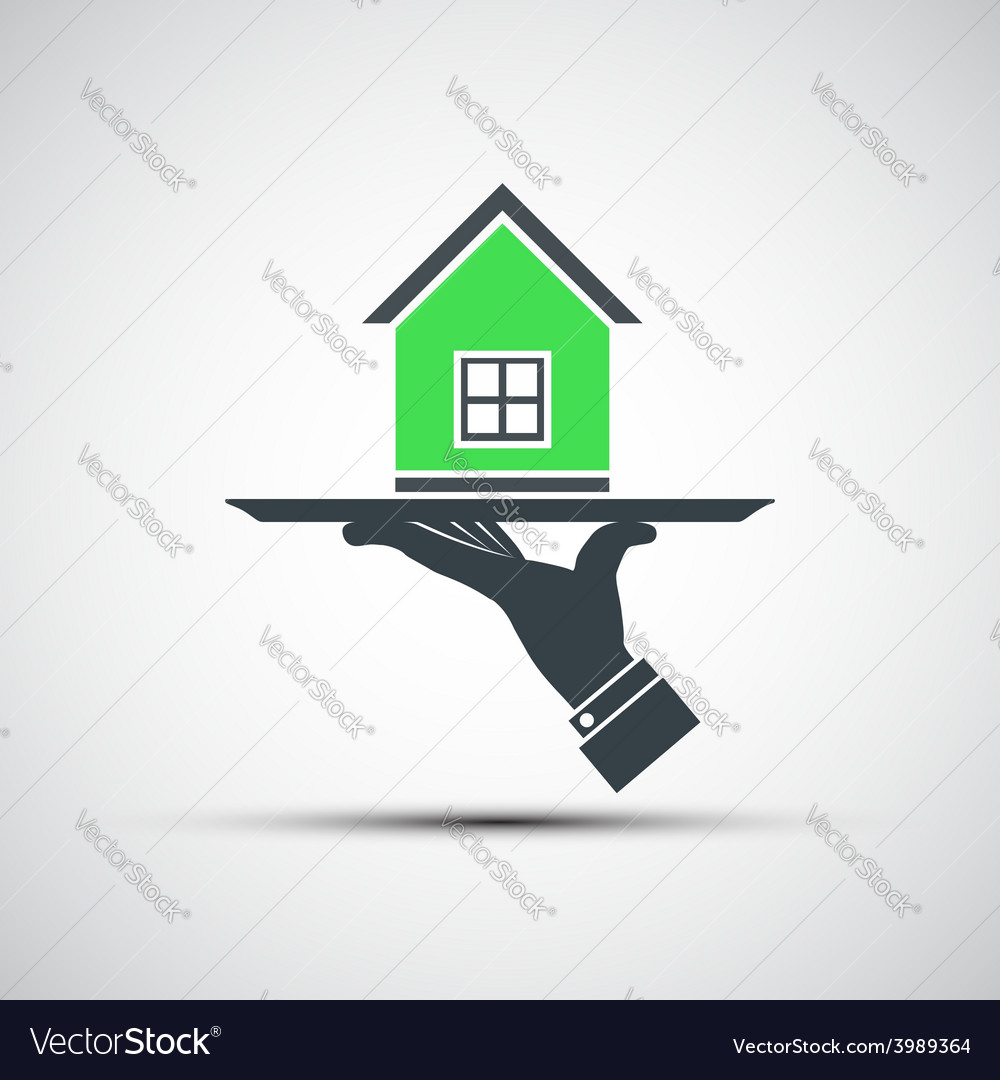 Logo of a human hand holding a tray with a home vector | Price: 1 Credit (USD $1)