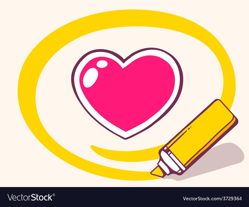 Marker drawing circle around heart on lig vector   Price: 1 Credit (USD $1)