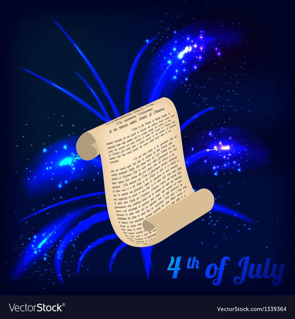 Roll and firework in honor of independence day vector | Price: 1 Credit (USD $1)