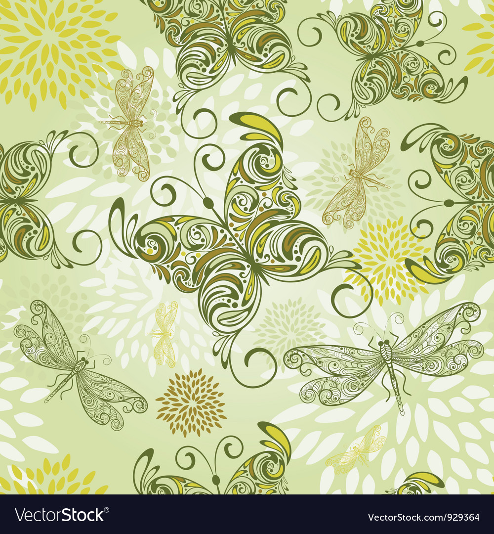 Seamless pattern with butterflies dragonflies and vector   Price: 1 Credit (USD $1)