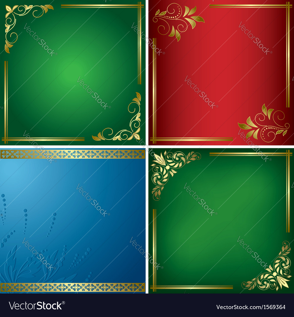 Set - bright cards with golden frames vector | Price: 1 Credit (USD $1)
