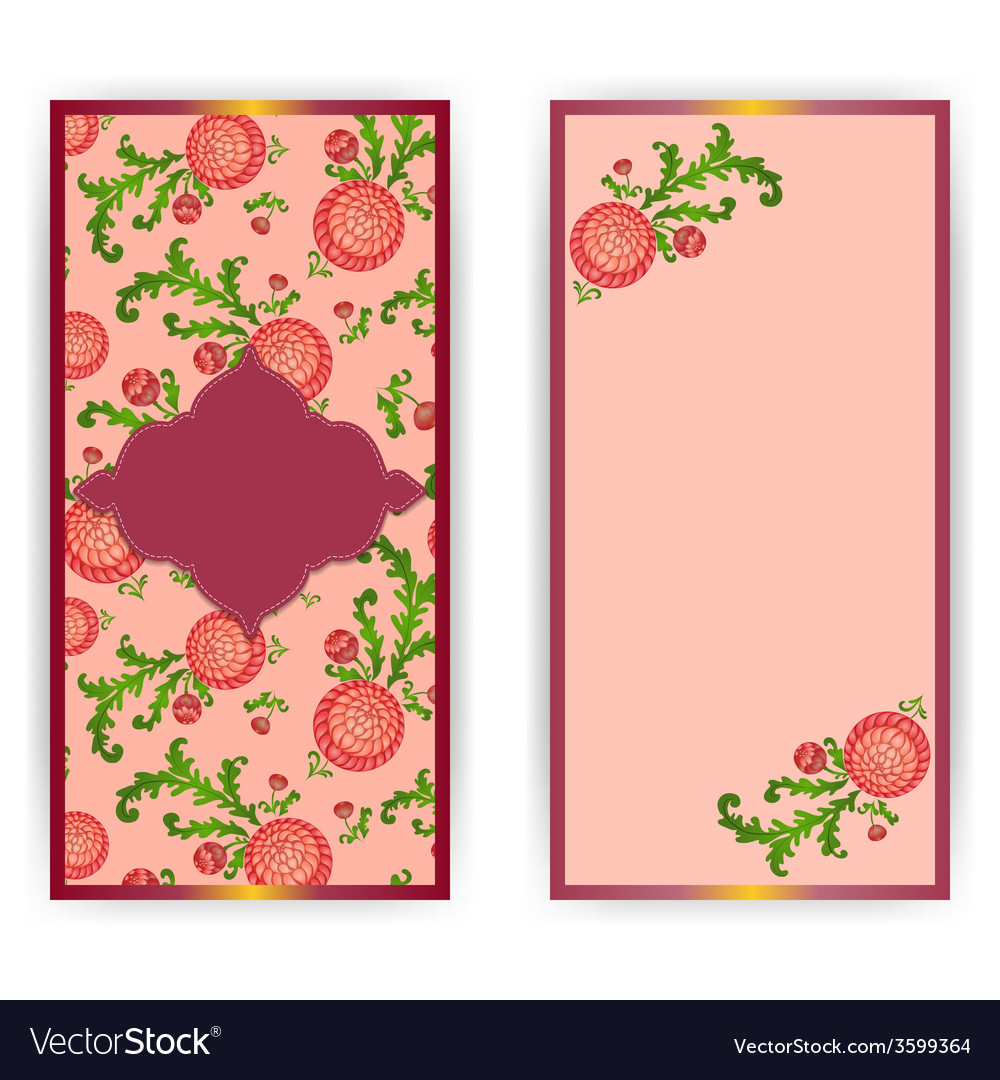 Vertical greeting card with flowers vector | Price: 1 Credit (USD $1)