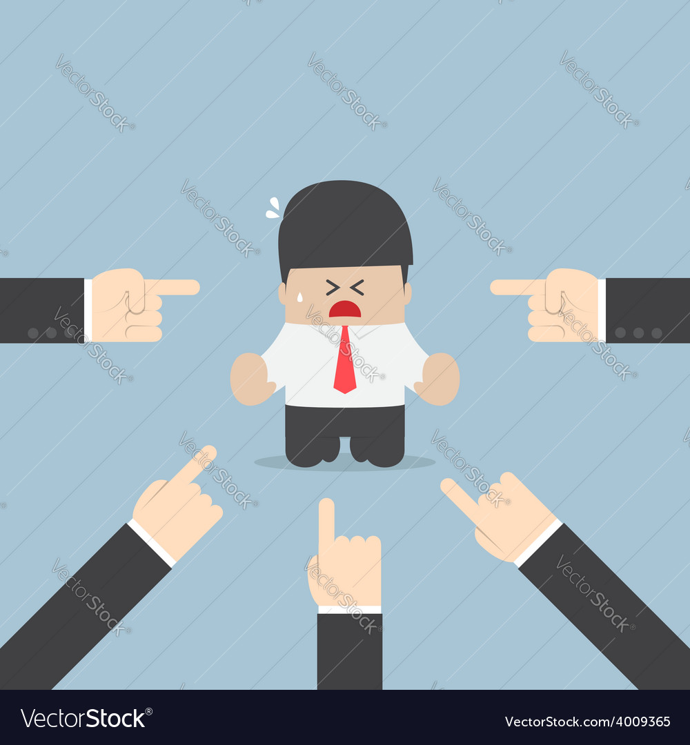 Businessman being pointed by a lot of hands vector | Price: 1 Credit (USD $1)