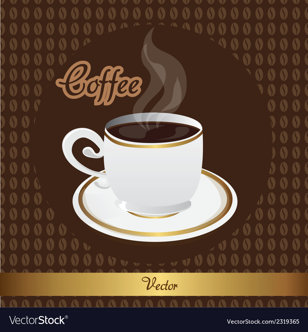 Coffee cup over beans coffee background vector | Price: 1 Credit (USD $1)