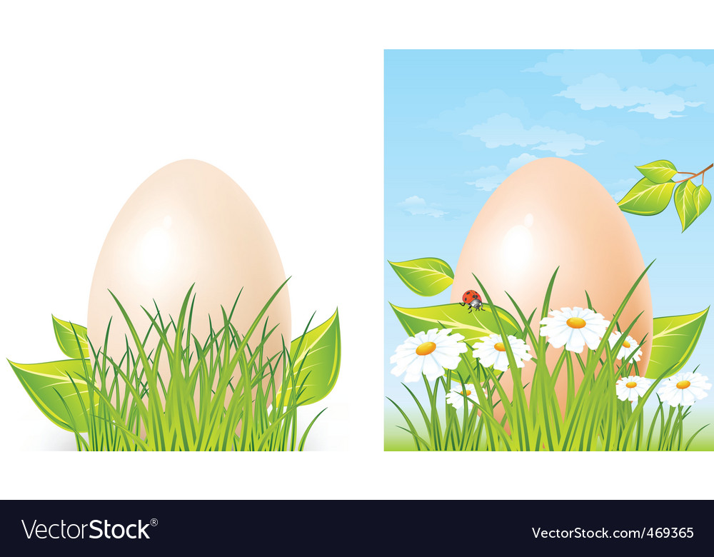 Easter big egg on grass vector | Price: 3 Credit (USD $3)