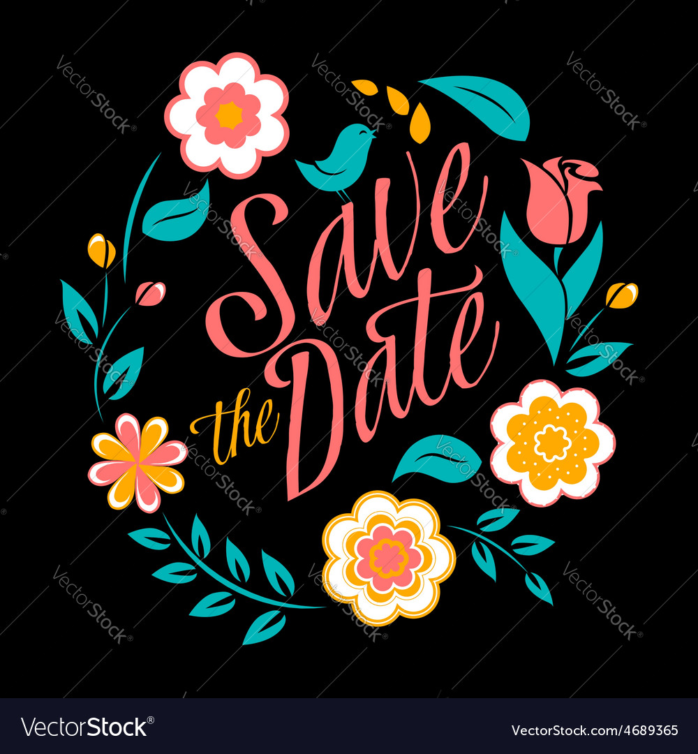 Flower wedding invitation card save the date vector   Price: 1 Credit (USD $1)