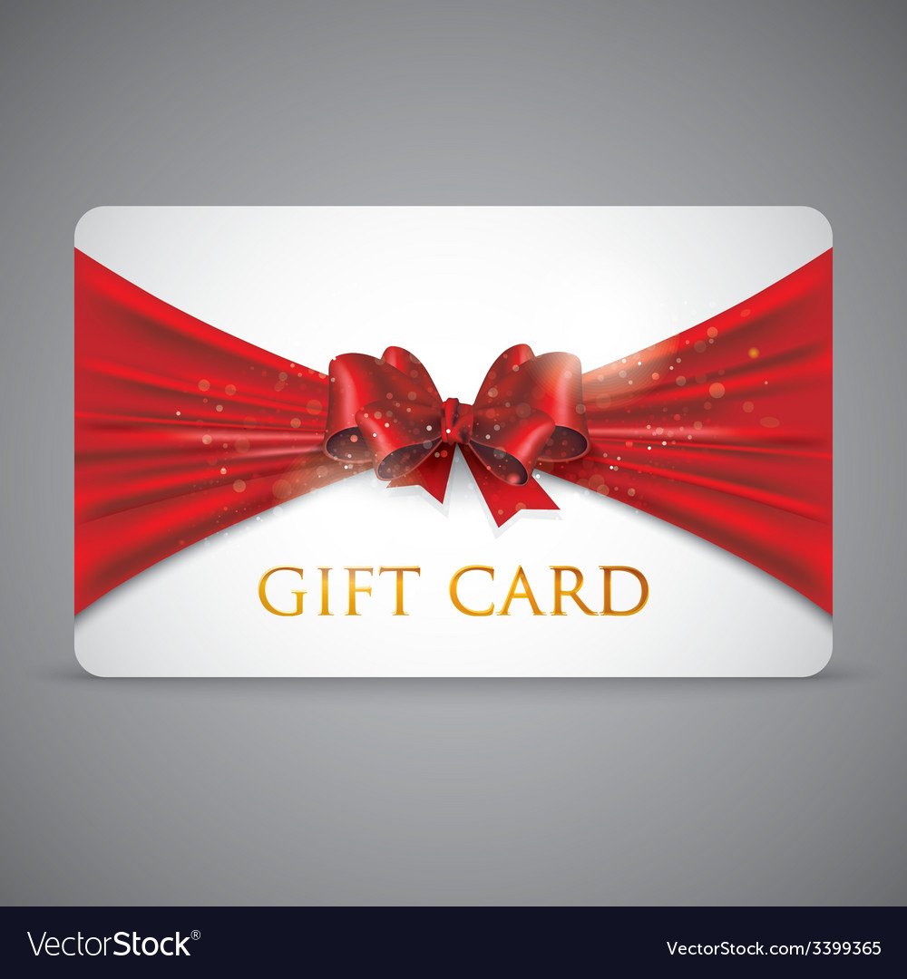 Gift card with red bow vector | Price: 1 Credit (USD $1)