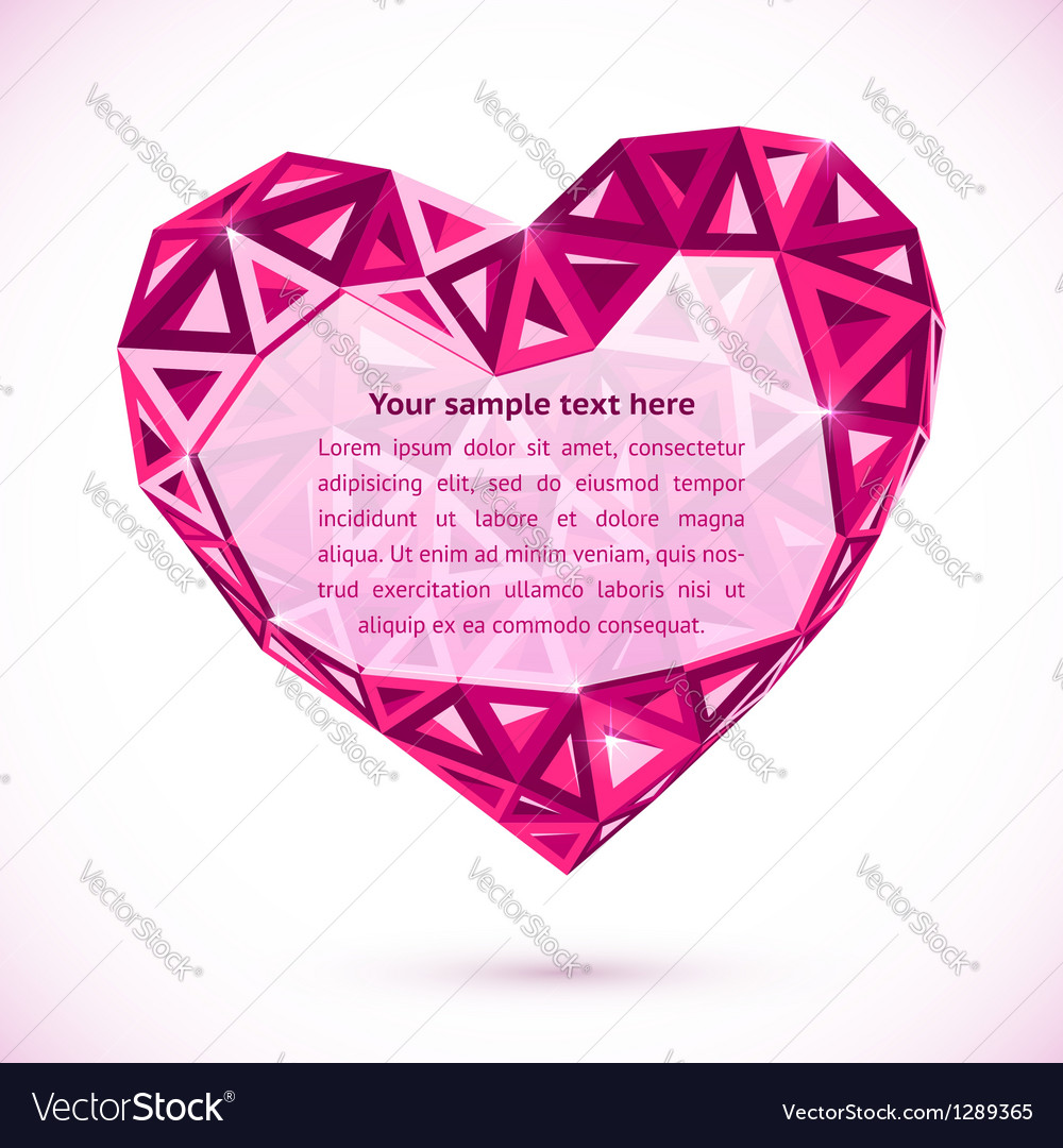 Pink abstract valentines day heart with triangles vector | Price: 1 Credit (USD $1)