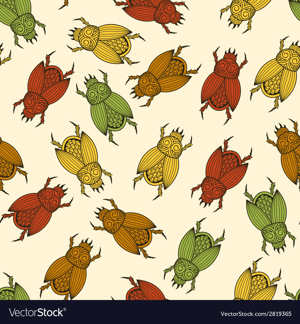 Seamless pattern with scarab beetles vector   Price: 1 Credit (USD $1)
