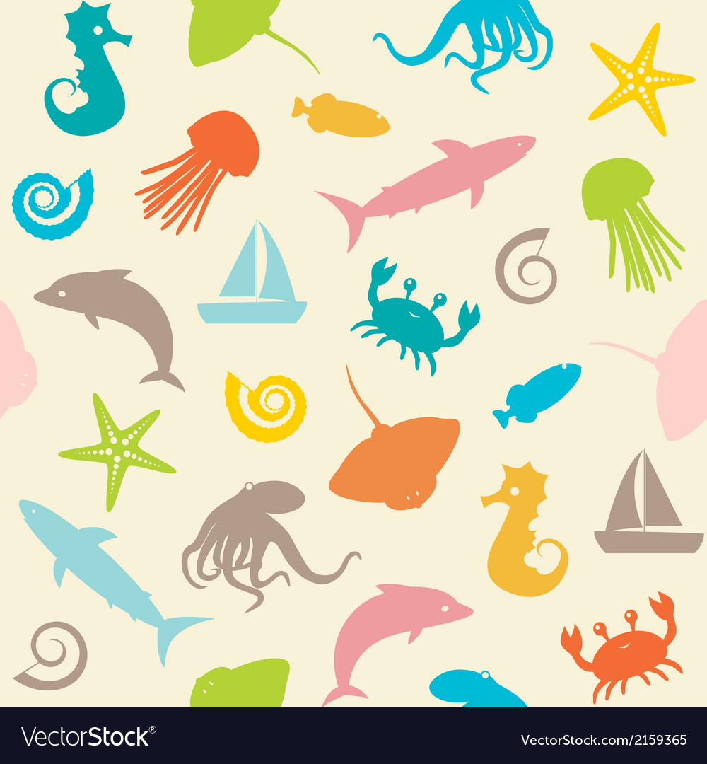 Seamless pattern with sealife silhouettes vector | Price: 1 Credit (USD $1)
