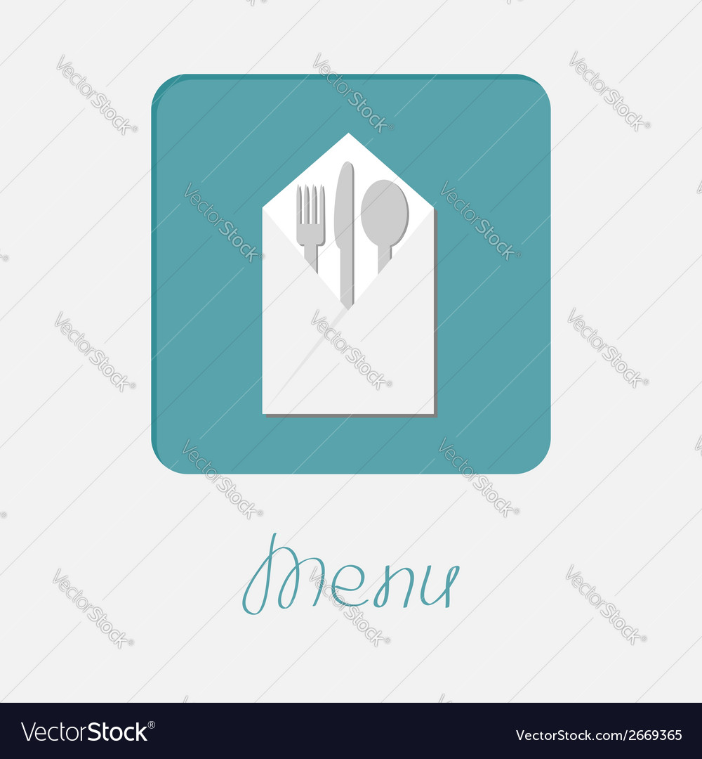 Silver fork knife spoon napkin icon menu cover vector | Price: 1 Credit (USD $1)