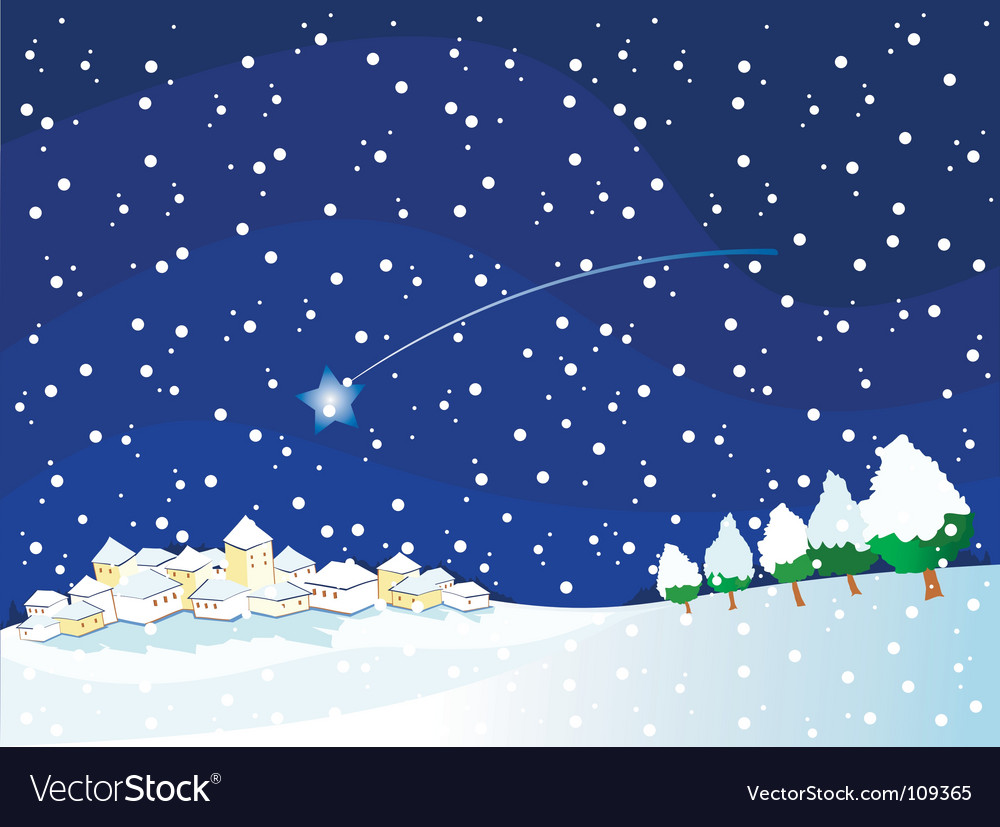 Snowy landscape at night vector | Price: 1 Credit (USD $1)
