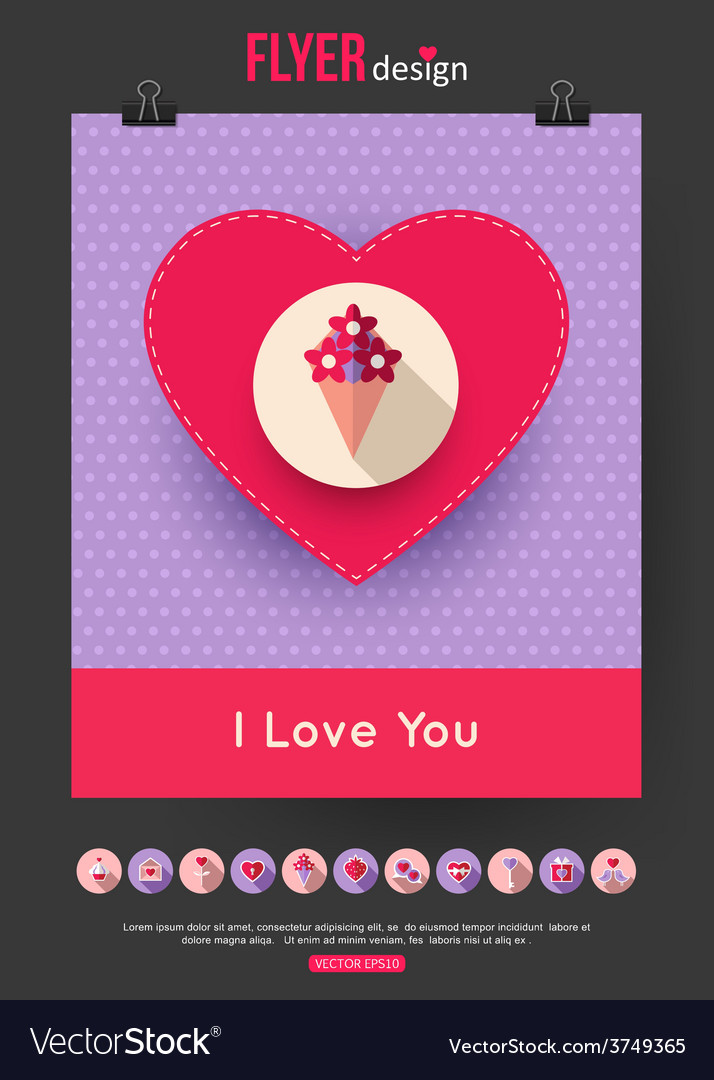 Valentines day brochure template and set of flat vector | Price: 1 Credit (USD $1)