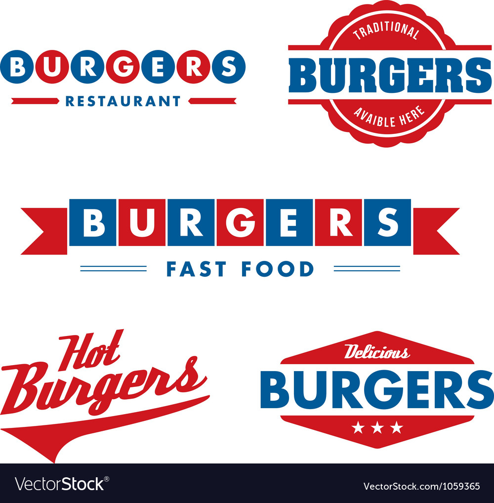 Vintage fast food restaurant logo set vector | Price: 1 Credit (USD $1)