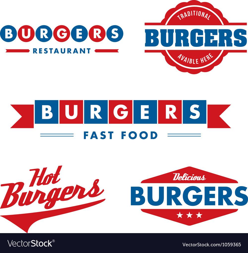 Vintage fast food restaurant logo set vector | Price: 1 Credit (USD $1)