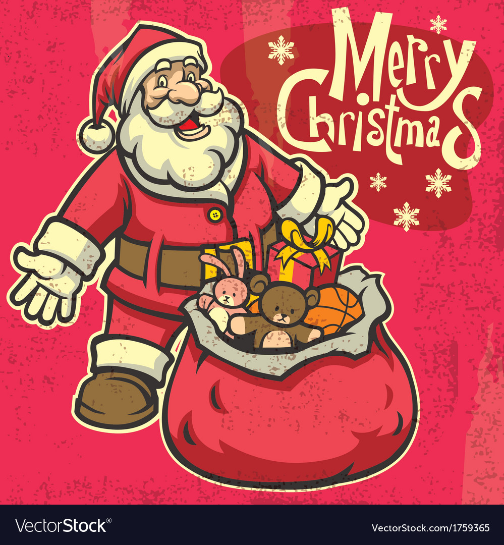 Vintage style santa greeting christmas vector | Price: 3 Credit (USD $3)