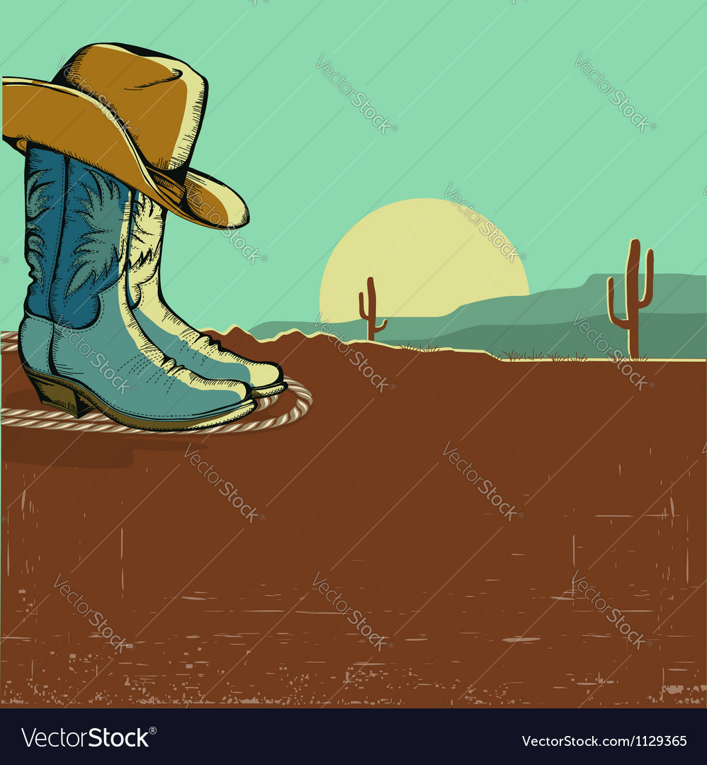 Western image with desert landscape vector | Price: 1 Credit (USD $1)