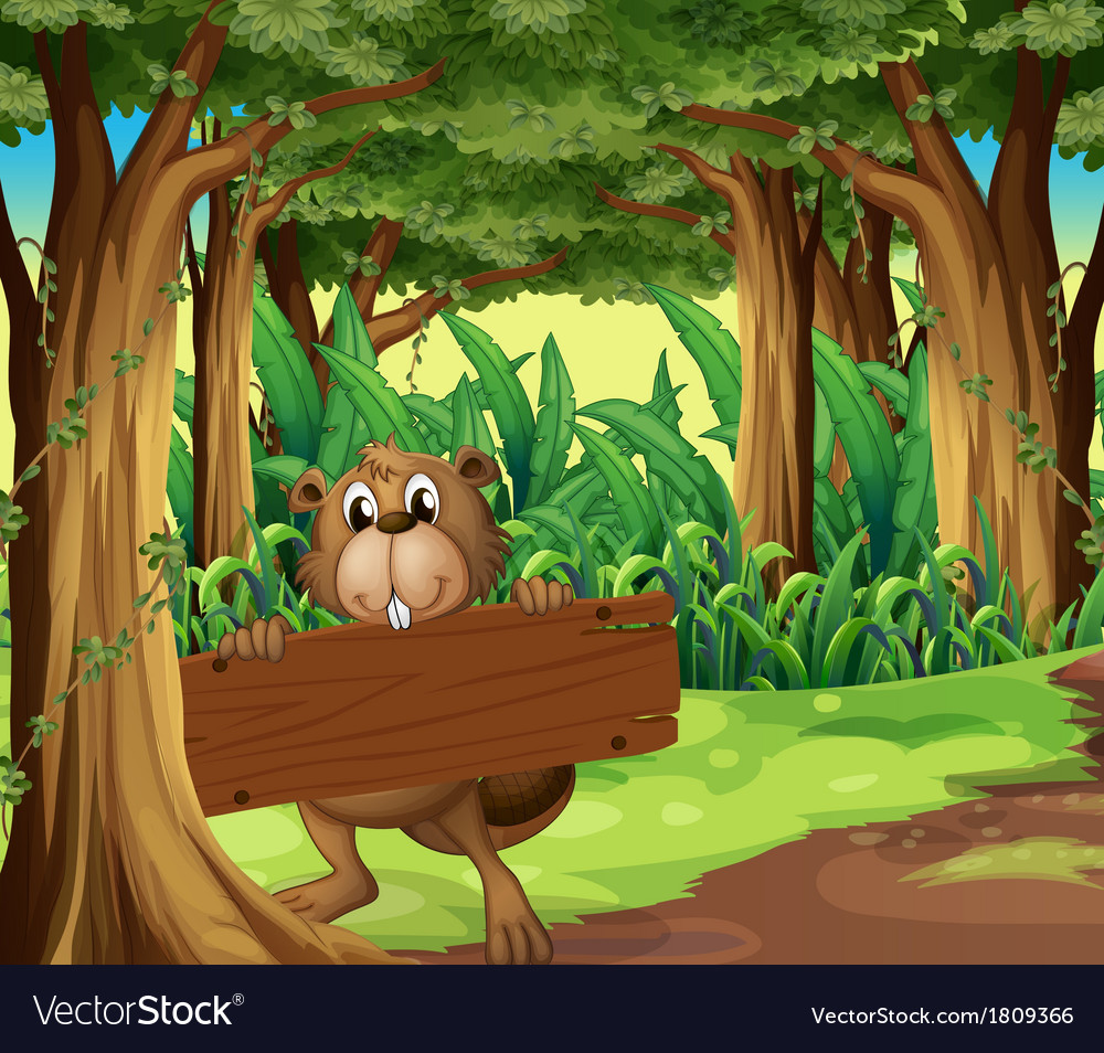 A forest with a beaver holding an empty board vector | Price: 1 Credit (USD $1)