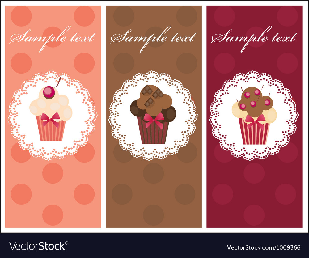 Beautiful card with sweet cupcakes dessert set vector | Price: 1 Credit (USD $1)