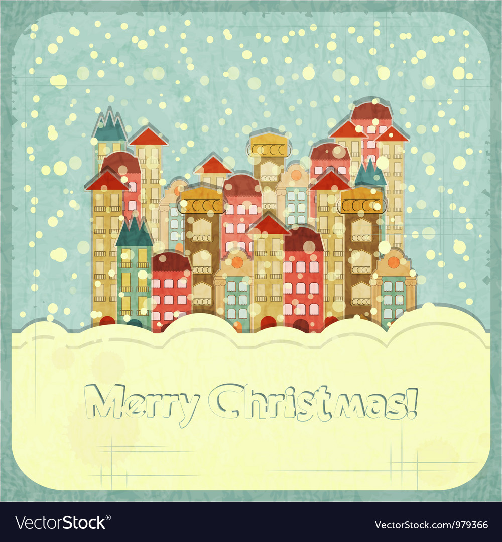 Christmas card - snow and small town vector | Price: 1 Credit (USD $1)