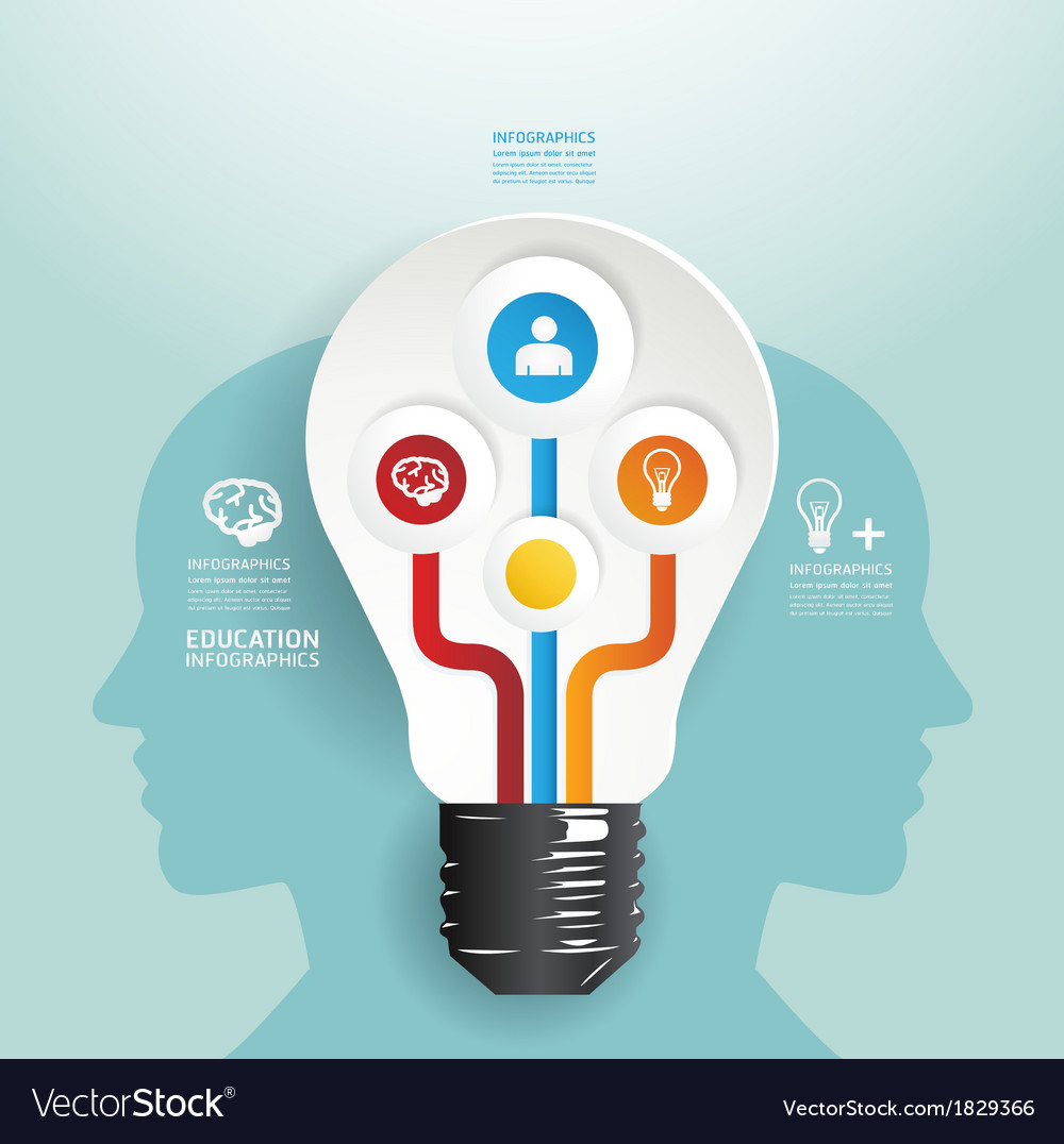 Modern design light bulb style infographic templet vector | Price: 1 Credit (USD $1)