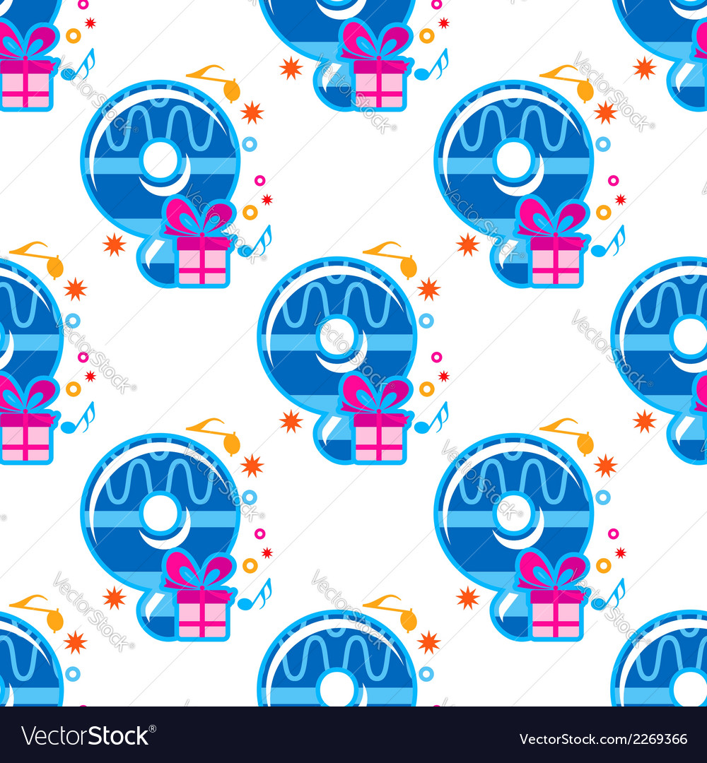 Number 9 childish seamless pattern vector | Price: 1 Credit (USD $1)