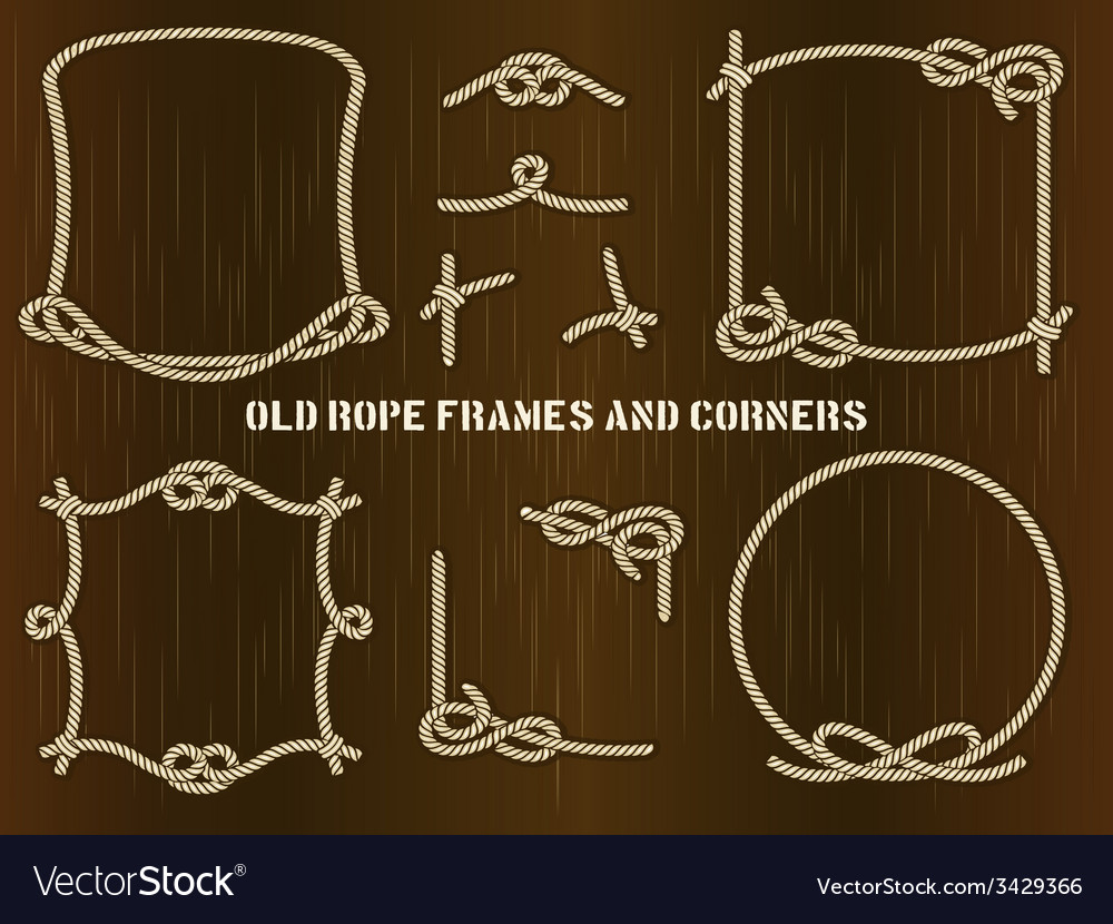 Old rope frames and corners on brown background vector | Price: 1 Credit (USD $1)