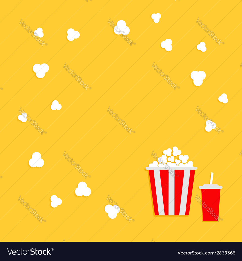 Popcorn round frame cinema icon in flat dsign vector | Price: 1 Credit (USD $1)