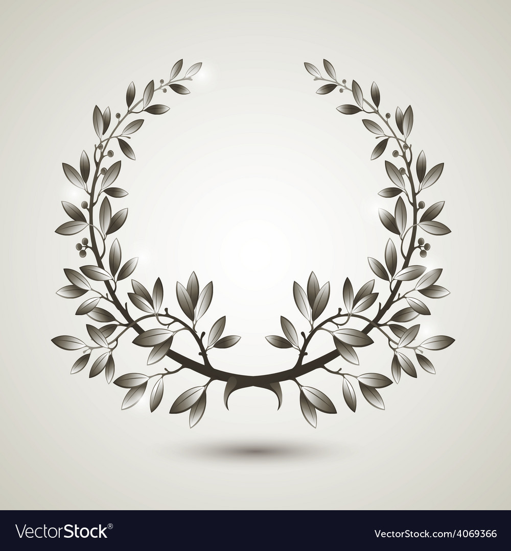 Silver laurel wreath vector | Price: 1 Credit (USD $1)