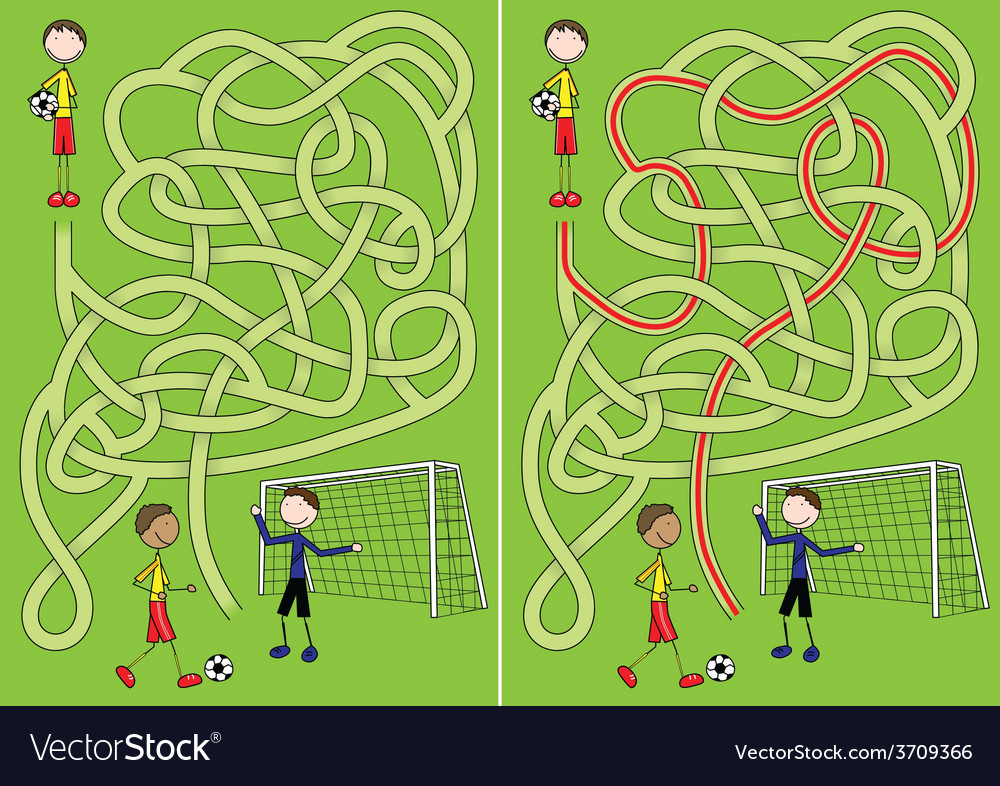 Soccer maze vector | Price: 1 Credit (USD $1)