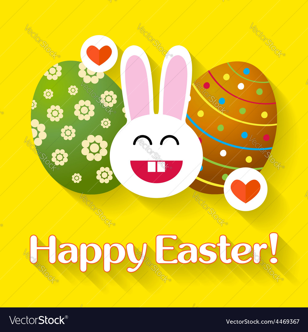 Bunny with eggs easter greeting card vector | Price: 1 Credit (USD $1)