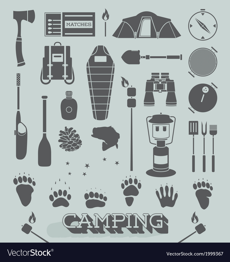 Camping and outdoors icons and symbols vector | Price: 1 Credit (USD $1)