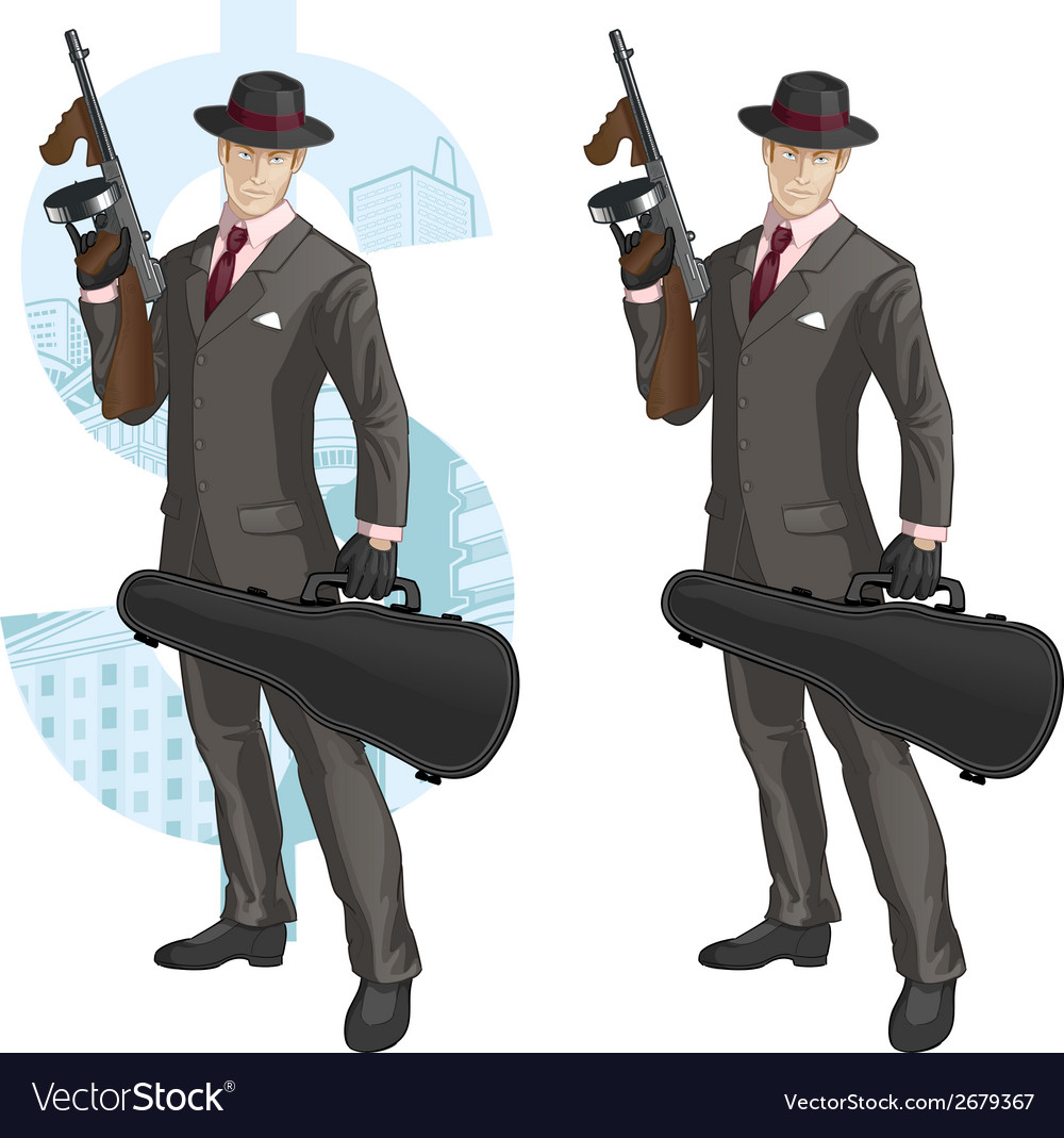 Cartoon caucasian mafioso with tommy-gun vector | Price: 1 Credit (USD $1)