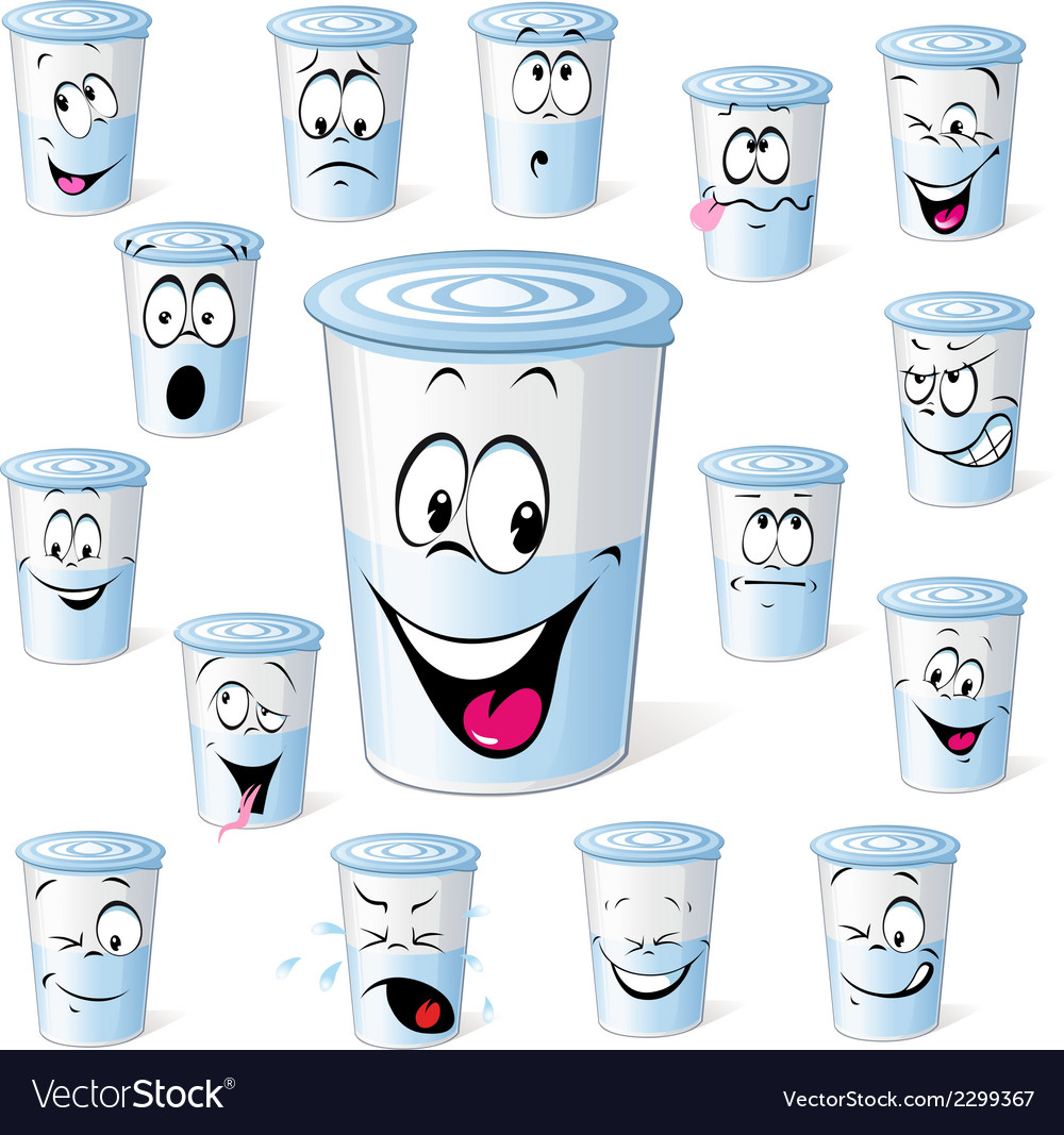 Dairy product in plastic cup - funny cartoon with vector | Price: 1 Credit (USD $1)