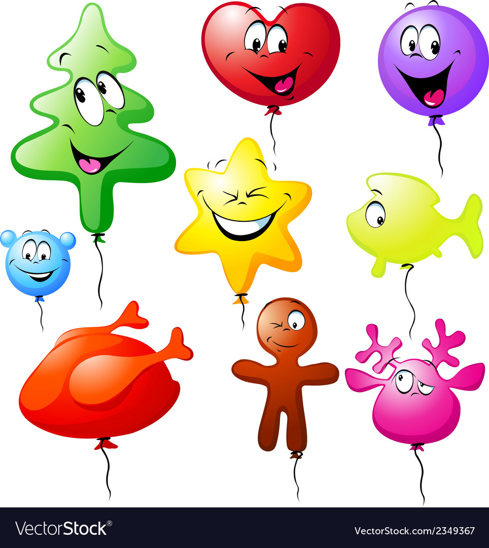 Funny xmas colorful balloons vector | Price: 1 Credit (USD $1)