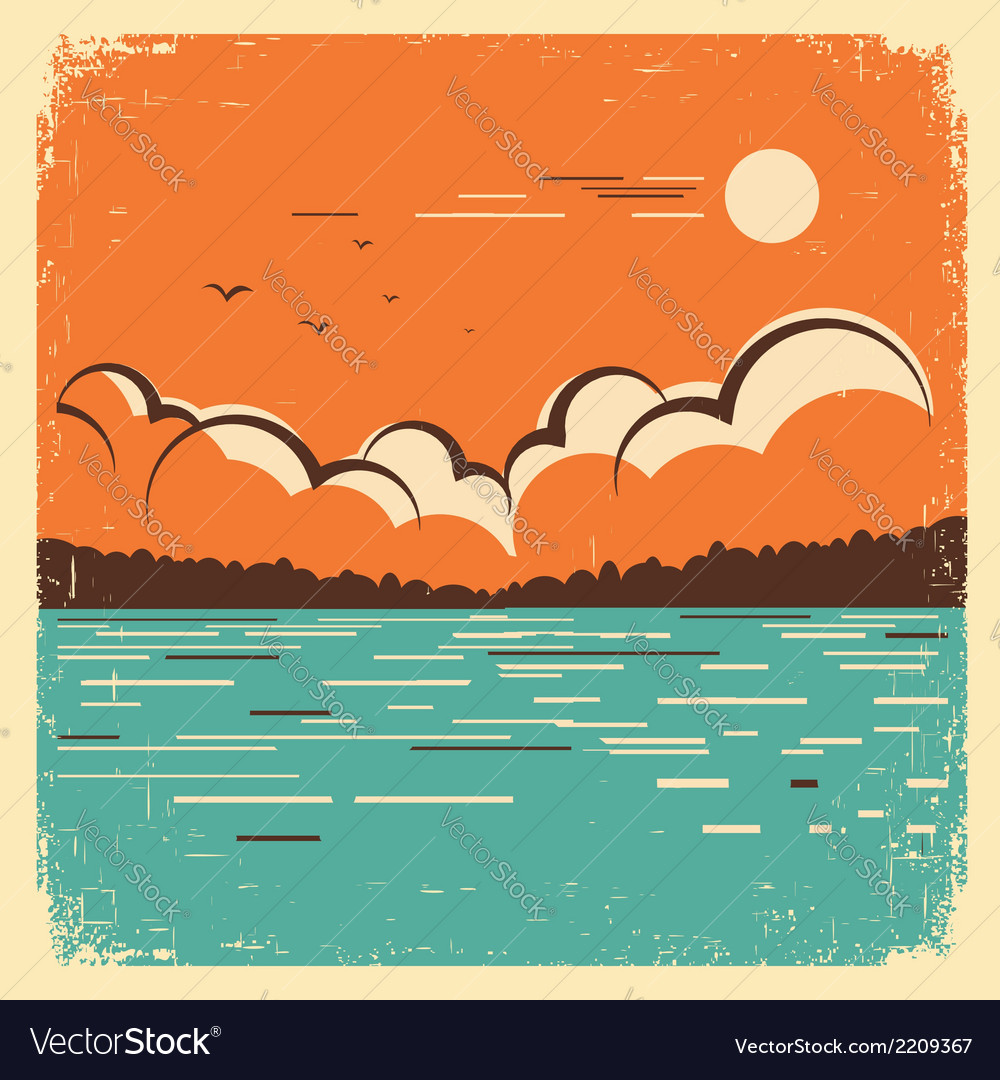 Landscape with blue big lake on old poster vector | Price: 1 Credit (USD $1)