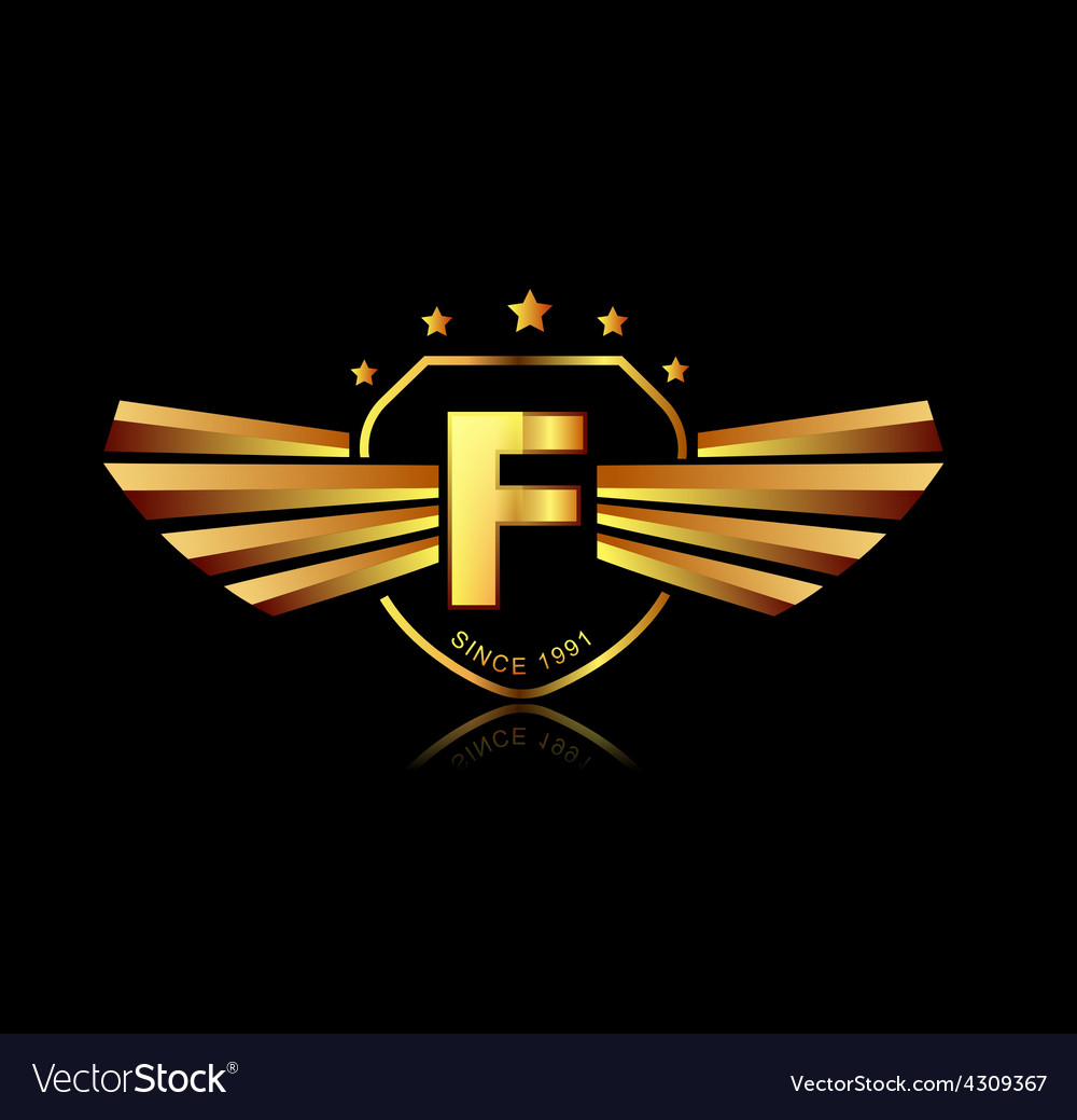 Letter f winged crests logo alphabet logotype vector | Price: 1 Credit (USD $1)