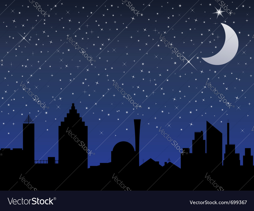 Night in the city vector | Price: 1 Credit (USD $1)