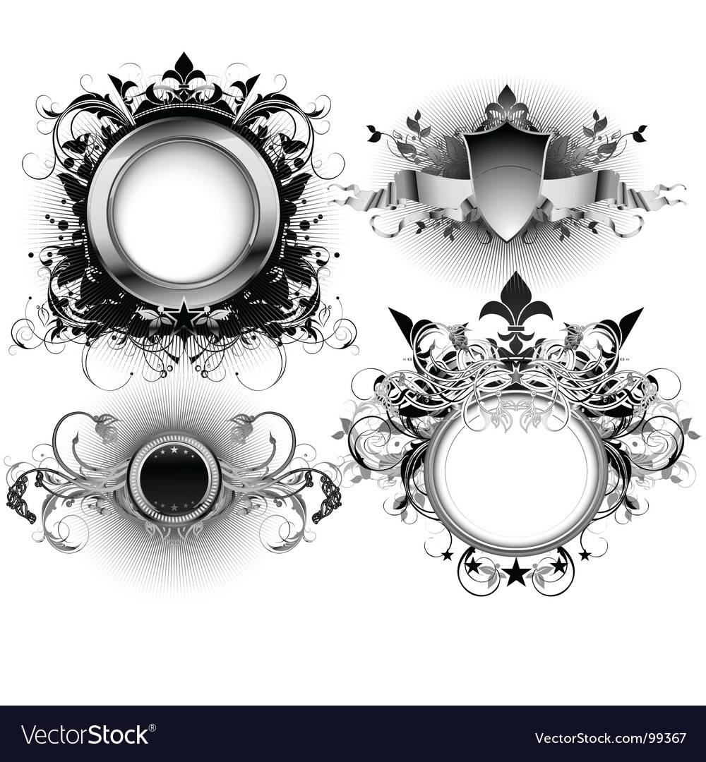 Ornate shields vector | Price: 3 Credit (USD $3)