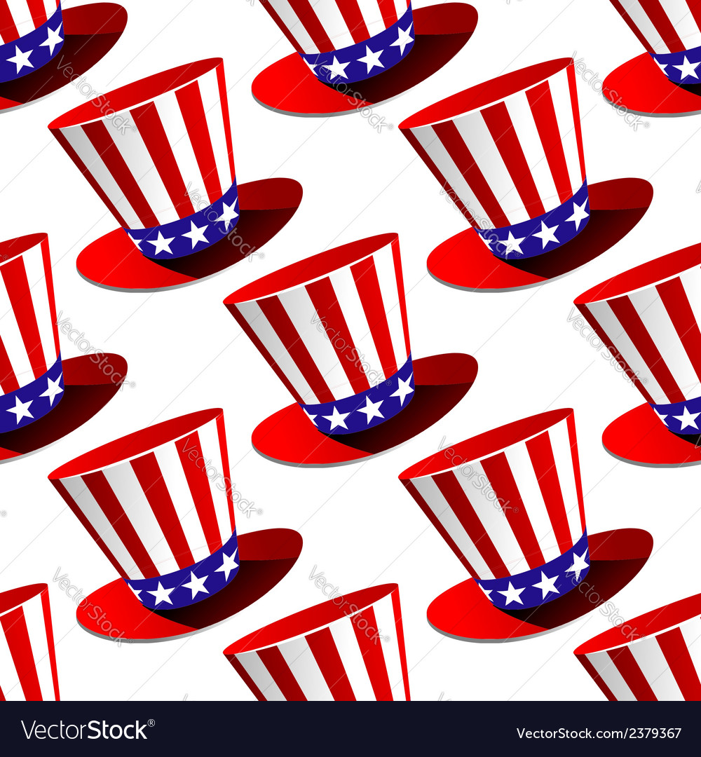 Patriotic american top hat seamless pattern vector | Price: 1 Credit (USD $1)