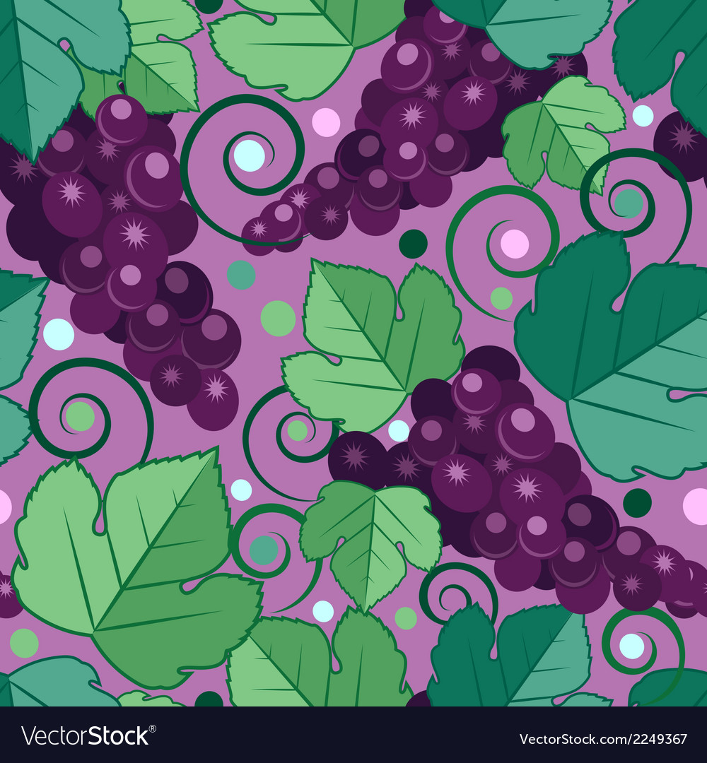 Seamless fruit pattern with grape vector