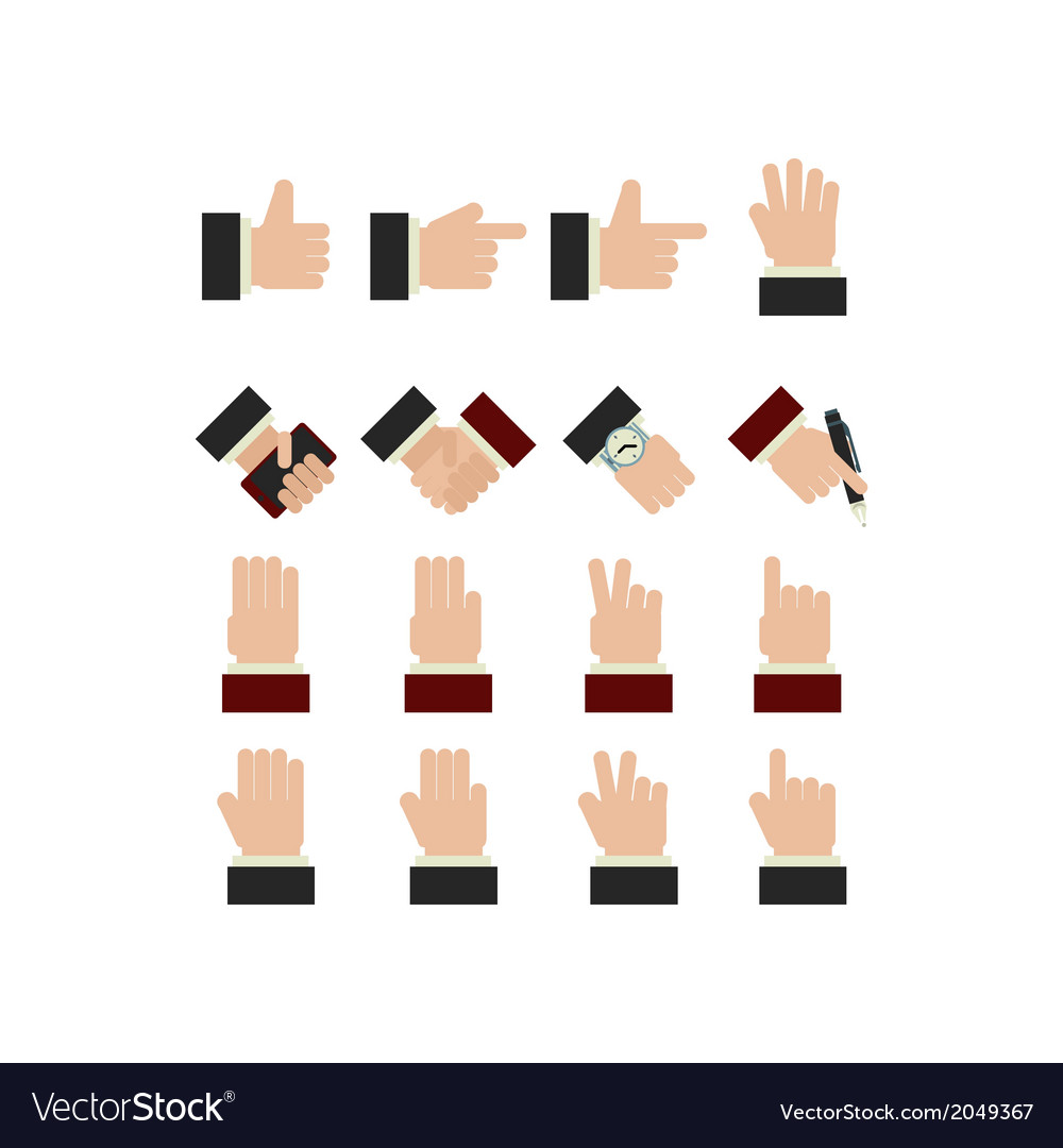 Set of hands icons vector | Price: 1 Credit (USD $1)