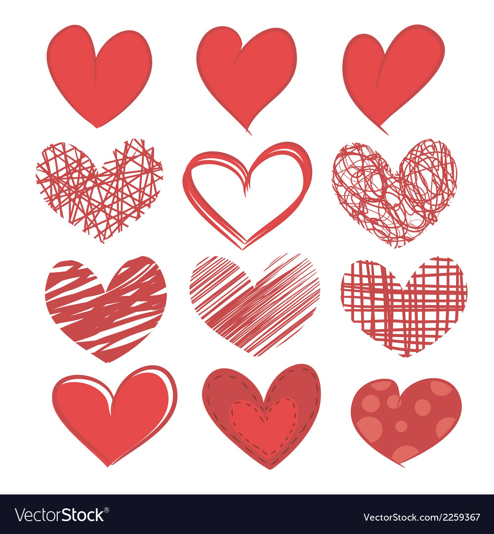 Set of hearts on white background vector | Price: 1 Credit (USD $1)