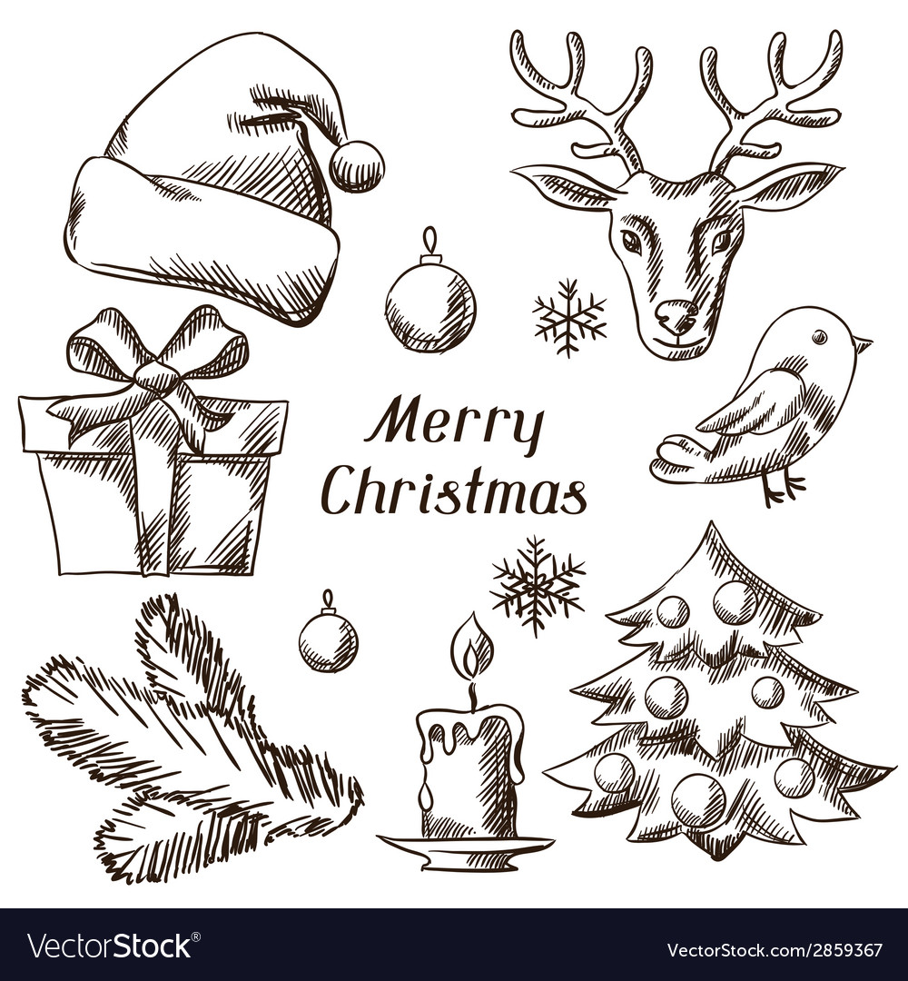 Set of merry christmas hand drawn icons and vector | Price: 1 Credit (USD $1)