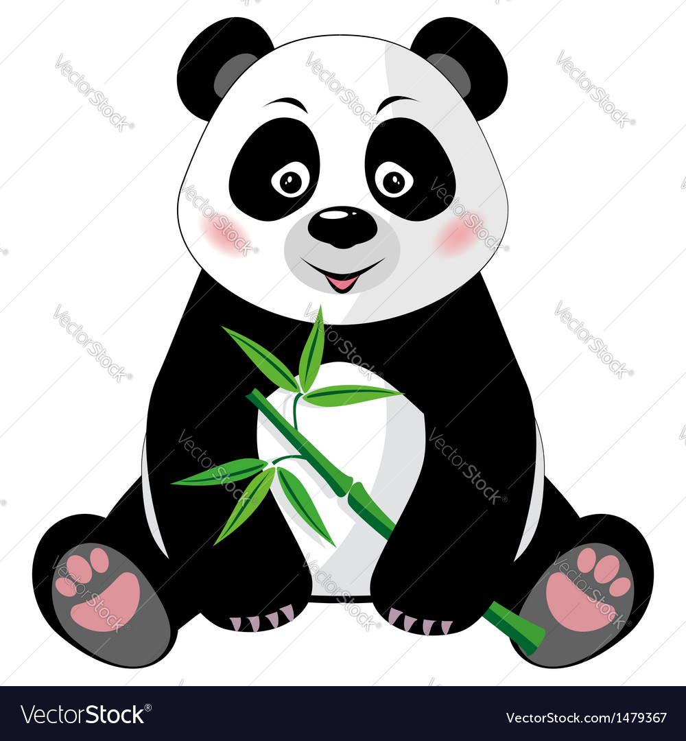 Sitting cute panda with bamboo isolated on white vector | Price: 1 Credit (USD $1)