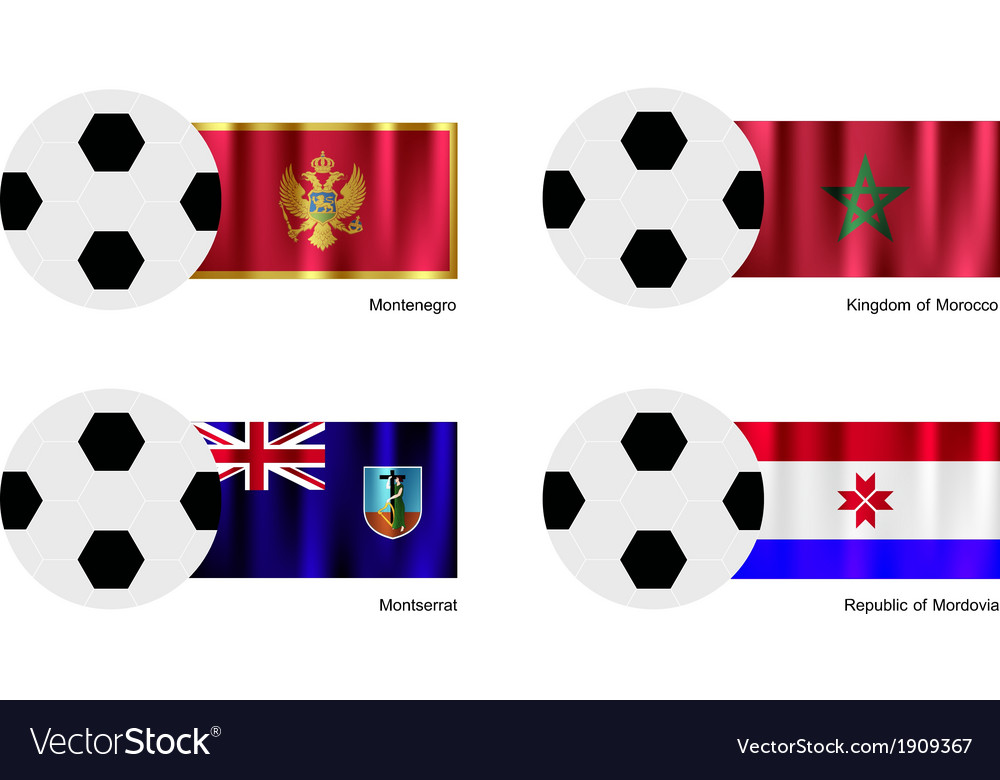 Soccer ball of montenegro morocco montserrat vector | Price: 1 Credit (USD $1)
