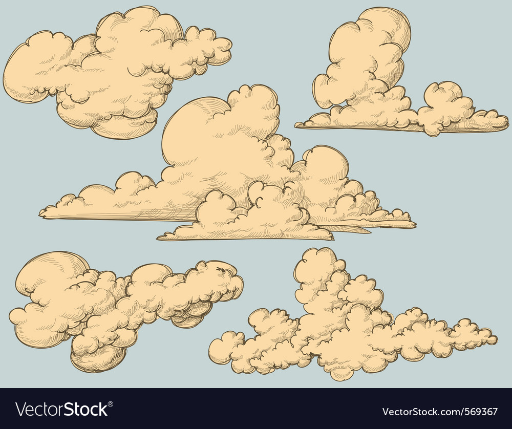 Vintage clouds vector | Price: 1 Credit (USD $1)