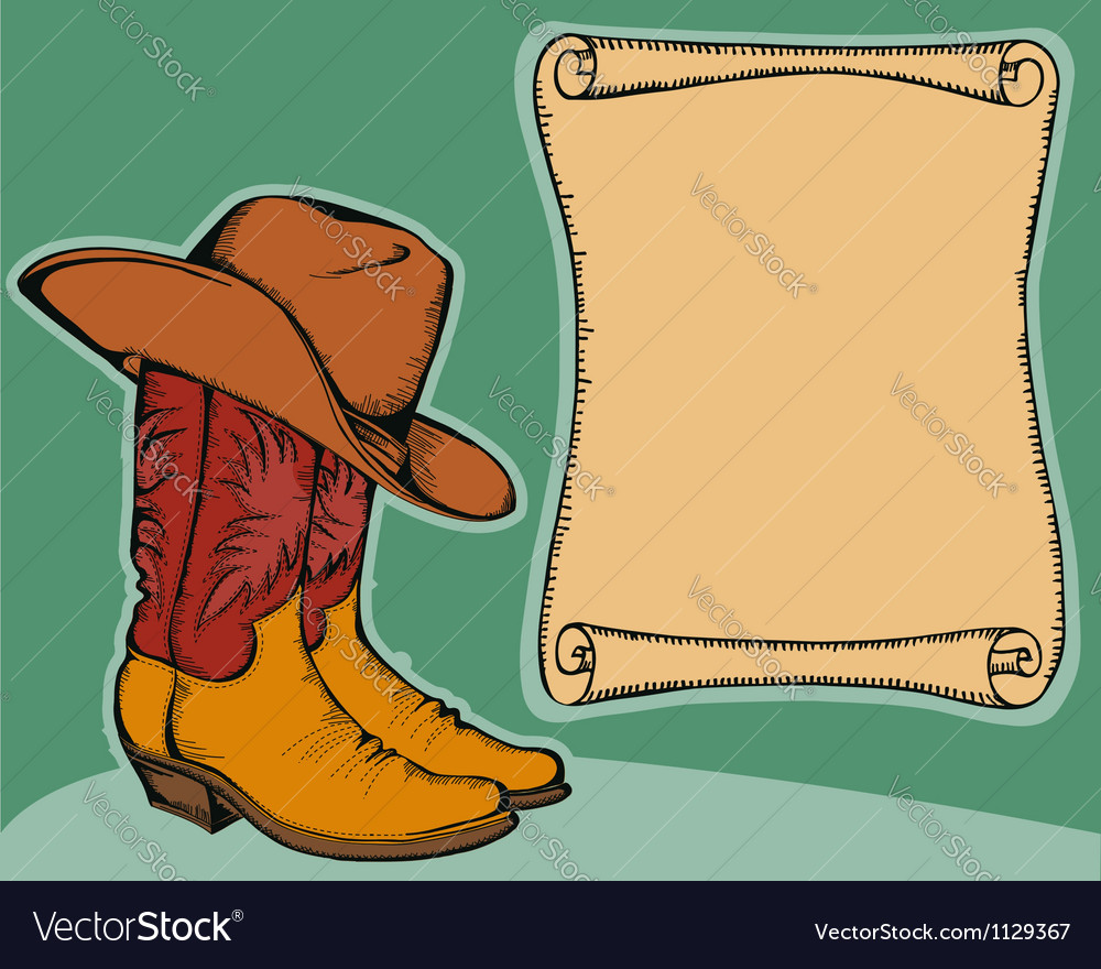 Western background with cowboy boots and hat color vector | Price: 1 Credit (USD $1)
